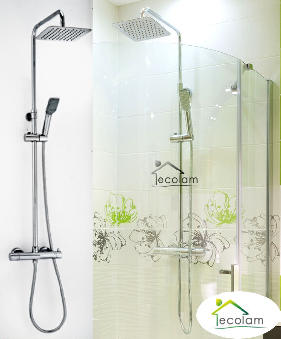 Set Duschsystem Duschsäule Regendusche Thermostat Eco Funktion Handbrause Y