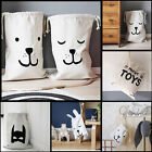 Cartoon Baby Kid Toys Storage Canvas Bags Bear Laundry Basket Drawstring Bags