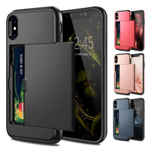 For-iPhone-Xs-Max-XR-Luxury-Card-Slot-Case-Heavy-Duty-Rugged-Rubber-Bumper-Cover