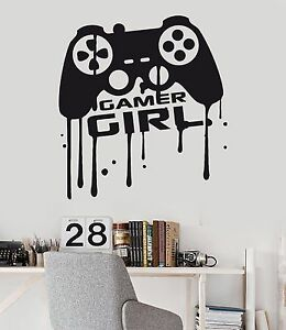 Image Is Loading Vinyl Wall Decal Girl Gamer Video Game Teen