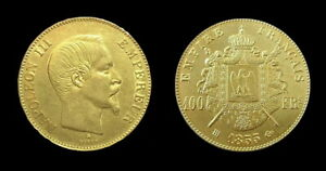 COPIE-Piece-plaquee-OR-GOLD-Plated-Coin-100-Francs-Napoleon-III-Tete-Nue-1855-BB