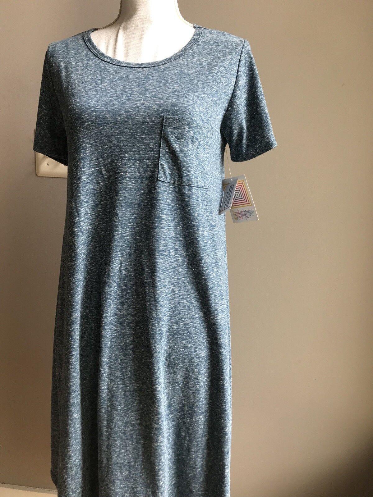 Medium LuLaRoe Carly Dress Pocket Blau Micro Stripes NWT New M