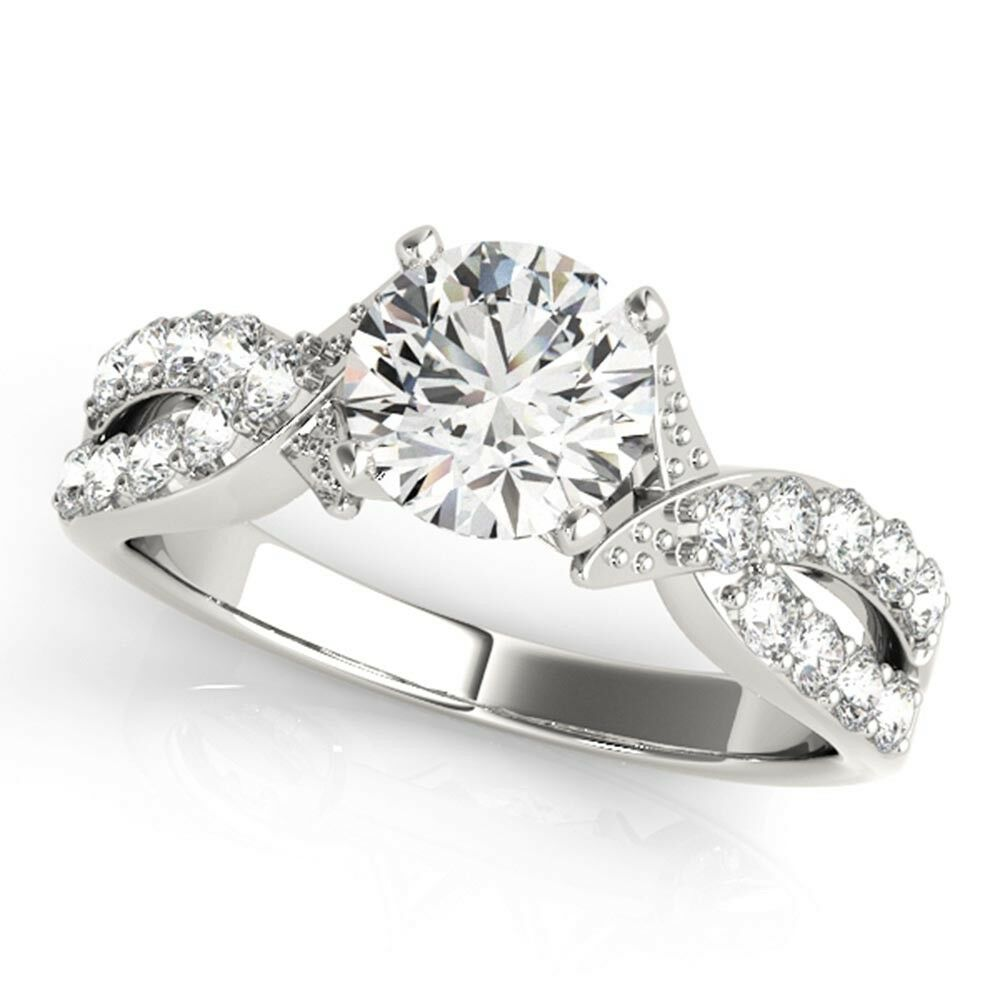 0.65 Ct Round Cut Real Diamond Engagement Ring 14K White gold Rings Size 5.5 6 7