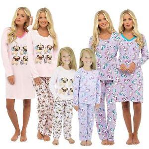 Image is loading Ladies-Girls-Matching-Mini-Me-Unicorn-Pug-Print- adf9e9eba