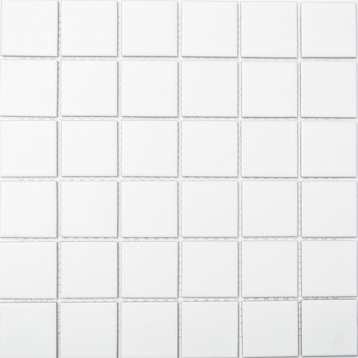 Mosaiksteine Mosaikfliese weiß matt Keramikfliese - Art: 16-0111_f