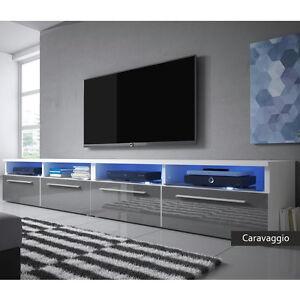 Dettagli su Mobile per televisore Caravaggio,porta tv soggiorno moderno,led  incluse,5 colori