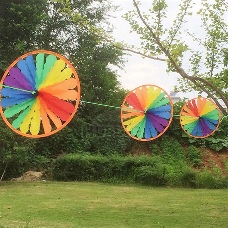 Rainbow Wheel Windmill Wind Spinner Whirligig Garden Funny Children Toys U_TMJU