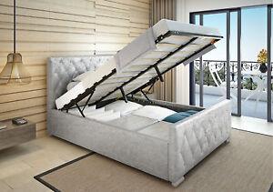 4FT6-5FT-Crush-Velvet-Fabric-Upholstered-Ottoman-Gas-lift-up-Storage-Bed-Frame