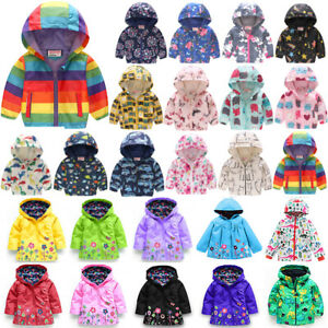Toddler-Kids-Boy-Girl-Waterproof-Floral-Hooded-Coat-Jacket-Windbreaker-Outerwear