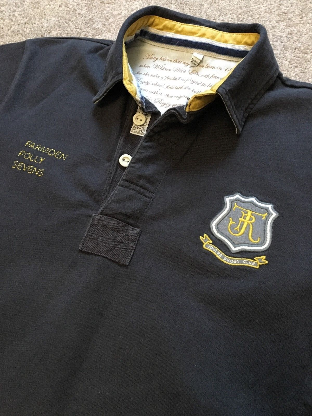 GORGEOUS JOULES CRESTED COLLEGE STYLE RUGBY SHIRT XS EXTRA SMALL