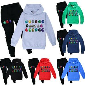 Kids Among Us Impostor Hoodie Hooded+Trousers Pants  Boys Girls Outfits 2pcs Set