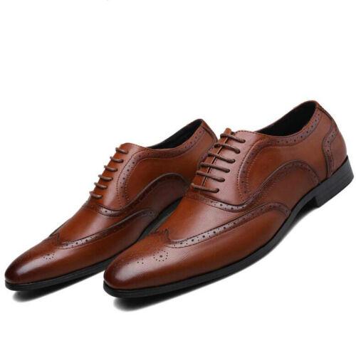 Men Faux Leather Oxfords Business Office Formal Dress Shoes Brogue Wingtip Shoes