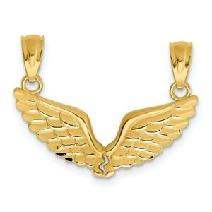 14K-Polished-Break-Apart-Angel-Wings-Pendant-New-Charm-Yellow-Gold