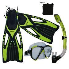Adult Snorkeling Dive Mask Dry Snorkel Fins Gear Set