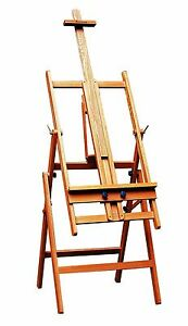 Large-Adjustable-H-Frame-Art-Artist-Studio-Easel-Painting-Gallery-Oil-Elm-Wood
