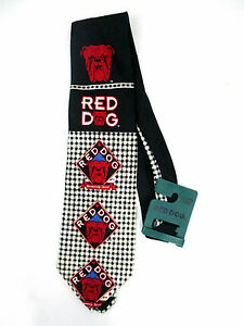 Red-Dog-Neck-Tie-NWT-Plank-Road-Brewery-Black-White-Plaid-58-long-Polyester