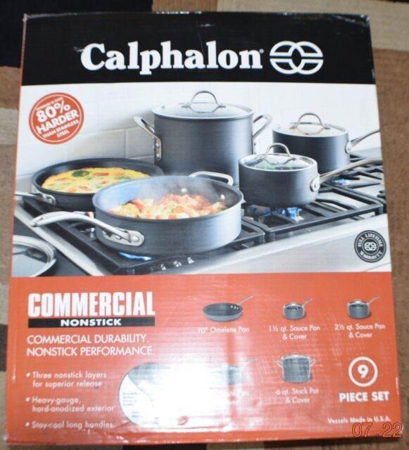 Calphalon 9 Piece Cookware Set Commercial Nonstick Black 1947200