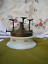thumbnail 6 - 1800s Antique Plate Warmer Marque Depose Old Porcelain Brass Oil Kerosene Floral