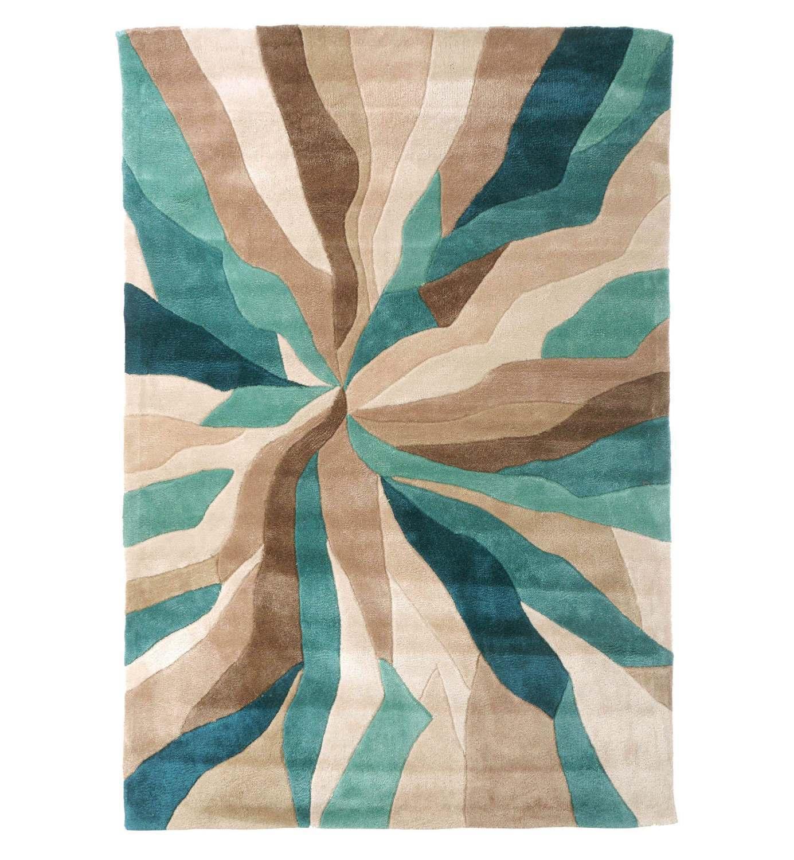 Infinite Splinter Tapis-Rectangulaire-TURQUOISE/MARRON-Living Room Moderne Décor Moderne Room UK b86a47
