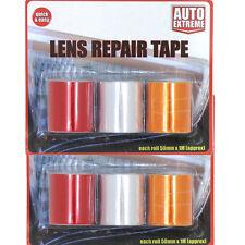 2 Pack 6 Roles Car Lens Repair Tape Light Indicators Rear Front Red Orange Clear