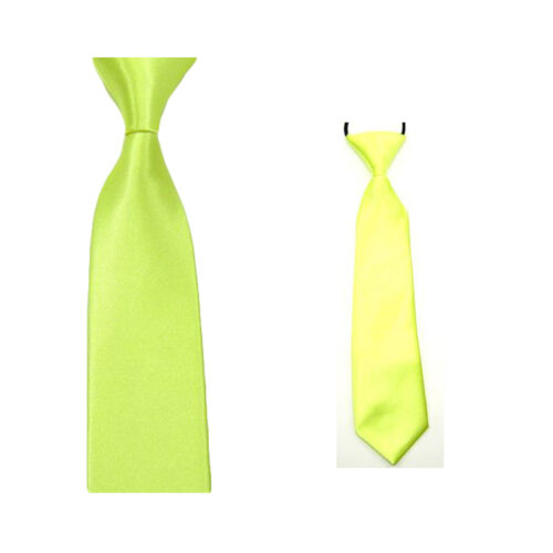 2PC Men Boys Kids Child Solid Color Plain Satin Skinny Tie Necktie Neckwear Set