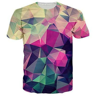 3D Polygon Low Poly  Design 3d Print Mens Womens Casual Slim Crew T-shirts Tee