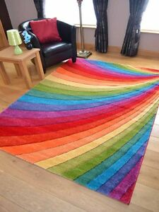 Modern Thick Dense Pile Bright Coloured Rainbow Floor Mat