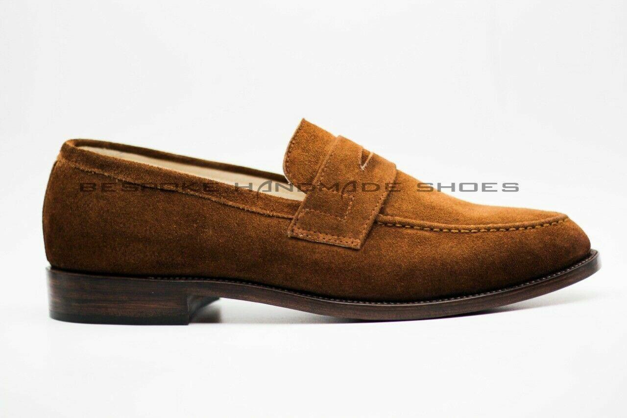 Handgemachte Herren echte Tan Wildleder Slipper & Slip On Mokassin formale Schuh