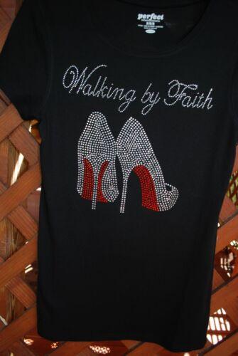Walking By Faith rhinestone bling shirt XS S M L XL 2X 3X 4X 5X