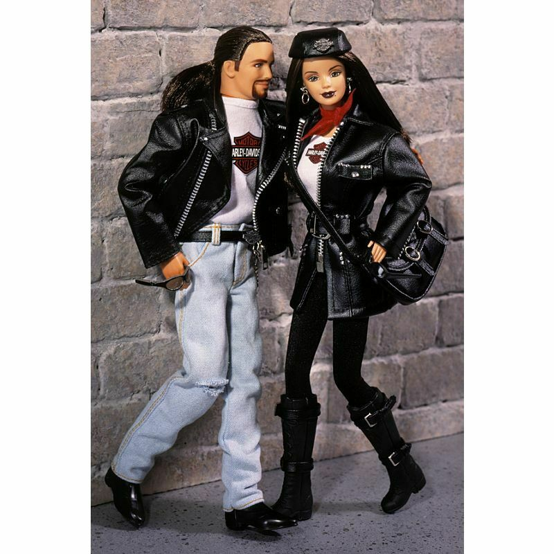 Barbie & Ken Fahrradrs Harley Davison Motorcycle doll 1998 set 2 dolls mib
