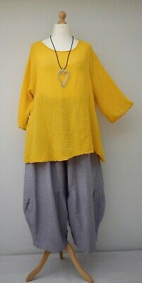 """PLUS SIZE LINEN OVERSIZED A-LINE LONG TUNIC*BABY BLUE*BUST UP TO 54/"""" XL-XXL OSFA"""