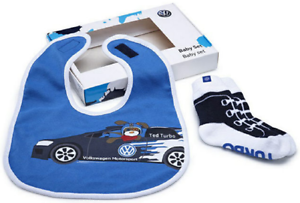 """VW VOLKSWAGEN Set Neonato - Confezione regalo """"Calzette e bavetta"""" ORIGINALE"""