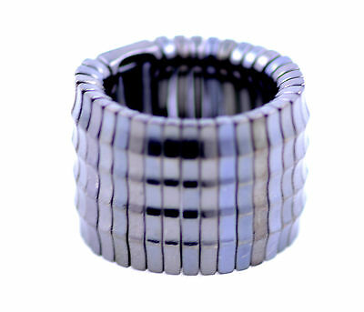 Very cool biker punk goth style silvery black stretch ring