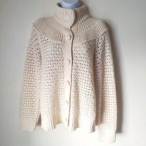 Preswick-amp-Moore-M-Sweater-Open-Weave-Crochet-Cardigan-Butter-Cream-Offwhite-EUC