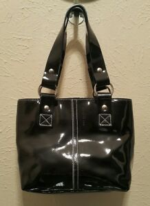 Image Is Loading Nannini Black Patent Leather Tote Handbag White Sch
