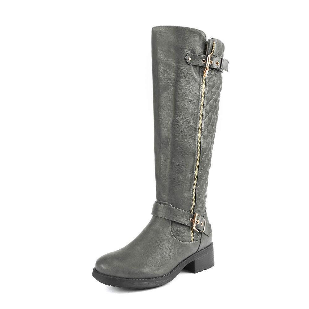 DREAM PAIRS Women's Utah Grey Low Stacked Heel Knee High Riding Boots Size 9...