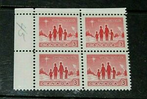 CANADA-1964-3c-RED-CHRISTMAS-ISSUE-IN-CNR-BLOCK-OF-4-FINE-M-N-H