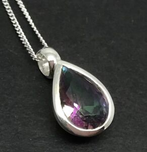 Mystic-Topaz-Faceted-Pear-Pendant-Solid-Sterling-Silver-On-Chain-12-x-8mm-UK