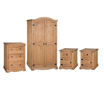 Corona 4 Piece Bedroom Set Solid Pine Wardrobe Chest Bedside Mercers Furniture