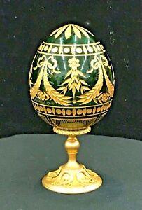 Vintage-FABERGE-Egg-Gold-Gilt-Emerald-Green-Gilded