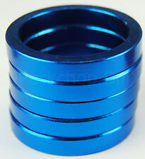 "Bicycle MINI BMX ROAD MTB headset spacers for 1"" threadless (SET of 5) 5mm BLUE"
