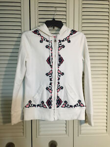 Lucky-Brand-Womens-Cream-Hooded-Sweatshirt-Jacket-Full-Zip-Embroidered-Floral-M