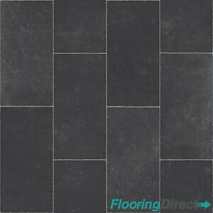 Thick Grey Black Tile Quality Non Slip Vinyl Flooring Lino ...