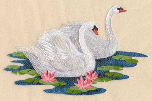 SWAN LOVE SET OF 2 HAND TOWELS EMBROIDERED NEW BY LAURA