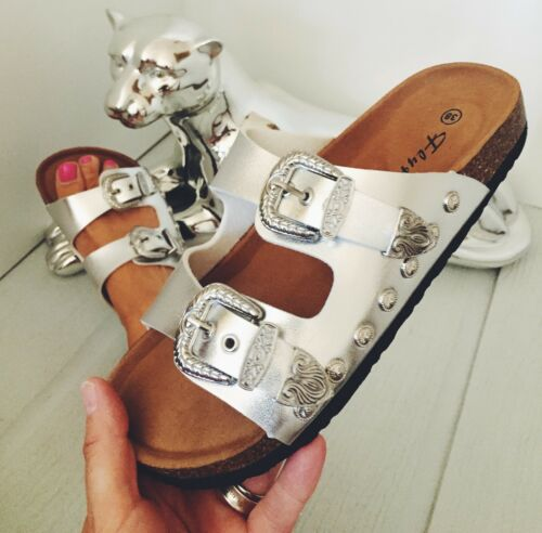 womens girls new uk flat sliders sandals buckles white pink gold silver shoes si