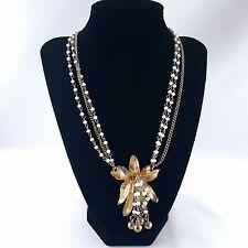 "Vintage 24"" Triple Strand Necklace White Milk Glass Bead Flower Leaf Tassel Y172"