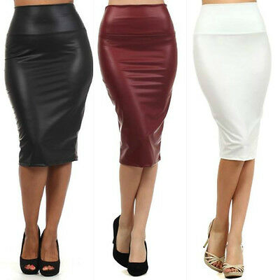 Black Skirt Faux Leather Pencil New Women Sexy High Waist Plus Size S M L