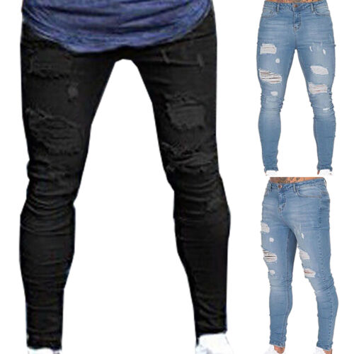 Men Ripped Jeans Super Skinny Slim Fit Denim Pant Broken Hole Frayed Trousers US