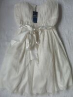 M&s Ivory Spotted Mesh Strapless Bandeau Wedding Bridesmaid Prom Dress 6 12 14