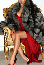 Elegante Vero Argento SAGA FOX vera pelliccia di seta Cape Wrap Scialle Poncho Cappotto LUXE!